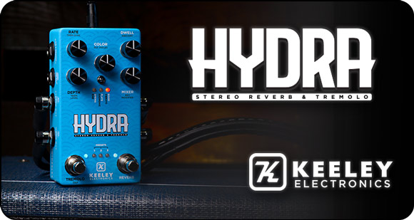 Keeley Electronics launches HYDRA - Stereo Reverb & Tremolo